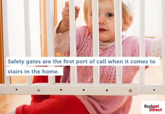 Child behind safety gate
