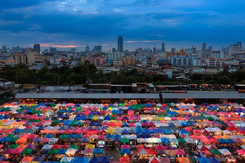 Talad Rod Fai Night Market in Bangkok.