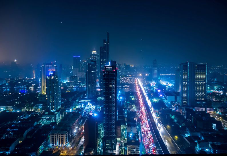 Cityscape view of Bangkok city downtown at night