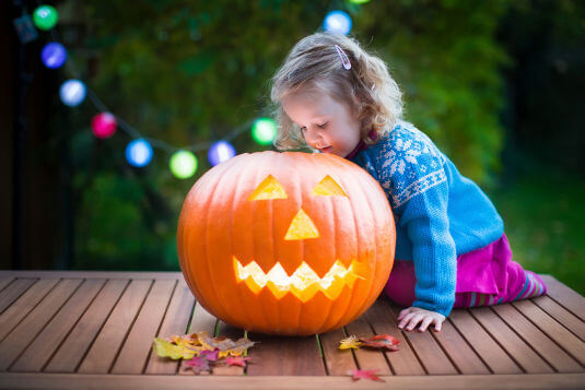 Halloween pumpkins can be safely illuminated using glowsticks or battery-powered candles.