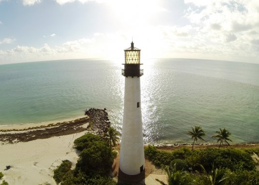 The Cape Florida Lighthouse on Key Biscayne in Bill Baggs Cape Florida State Park.