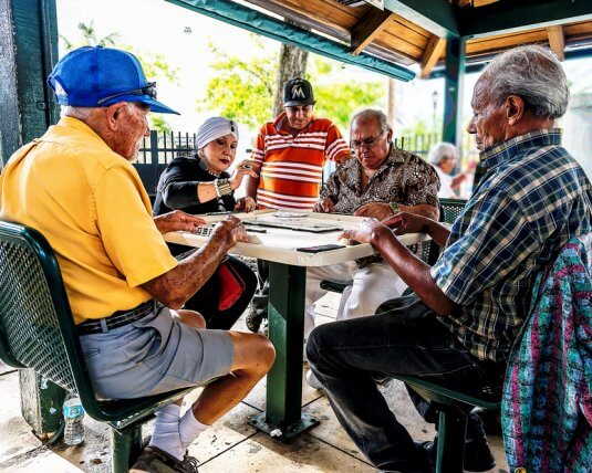 Residents of Little Havana descend on Domino Park in Miami to play the popular board game.