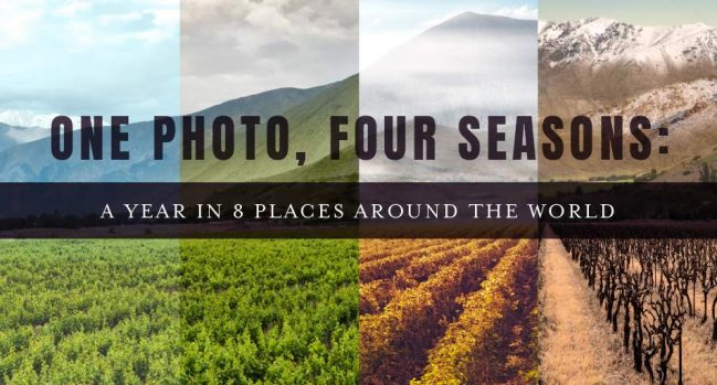 One photo, four seasons: a year in 8 places around the world