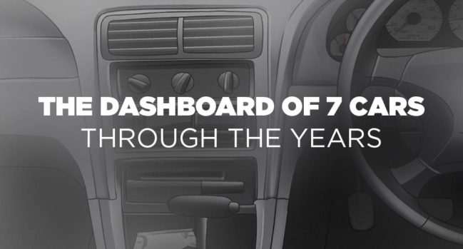 The dashboard of 7 cars through the years