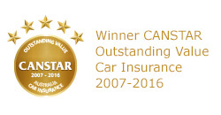 Winner of Canstar's Outstanding Value Car Insurance for 2007 to 2016